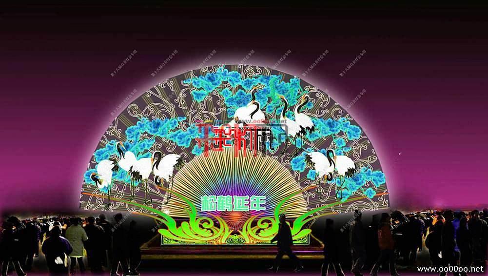 2012自贡第十八届自贡国际恐龙灯会设计图纸-中华神韵主景区之四大折扇