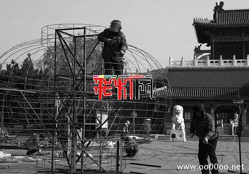2012鞍山玉佛苑筹备新春灯会(图)
